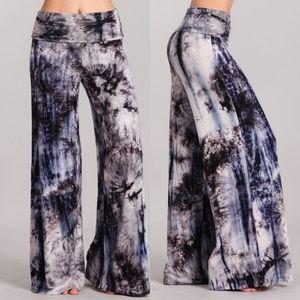 60d2c1f43ef128 Pants - Plus size Tie Dye wide leg Palazzo Pants 1X 2X 3X